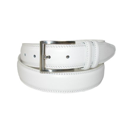 Men's Leather 32mm Double Keeper Padded Belt with Satin Buckle