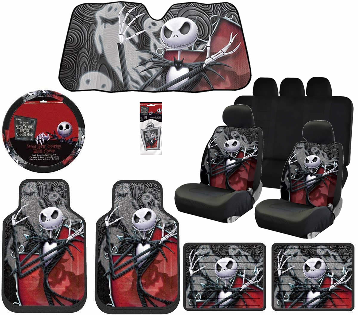 Miraculous Nightmare Before Christmas Jack Ghostly Floor Mats Steering Seat Covers Sunshade Air Freshener Universal Bench Walmart Com Bralicious Painted Fabric Chair Ideas Braliciousco