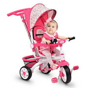 Best Baby Bike Strollers - Gymax Pink Baby Stroller Tricycle Detachable Learning Toy Review