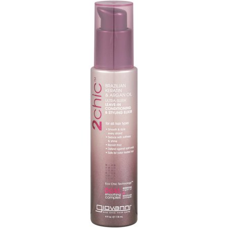 Giovanni 2chic Ultra-Sleek Leave-In Conditioning And Styling Elixir With Brazilian Keratin And Argan Oil - 4 oz.