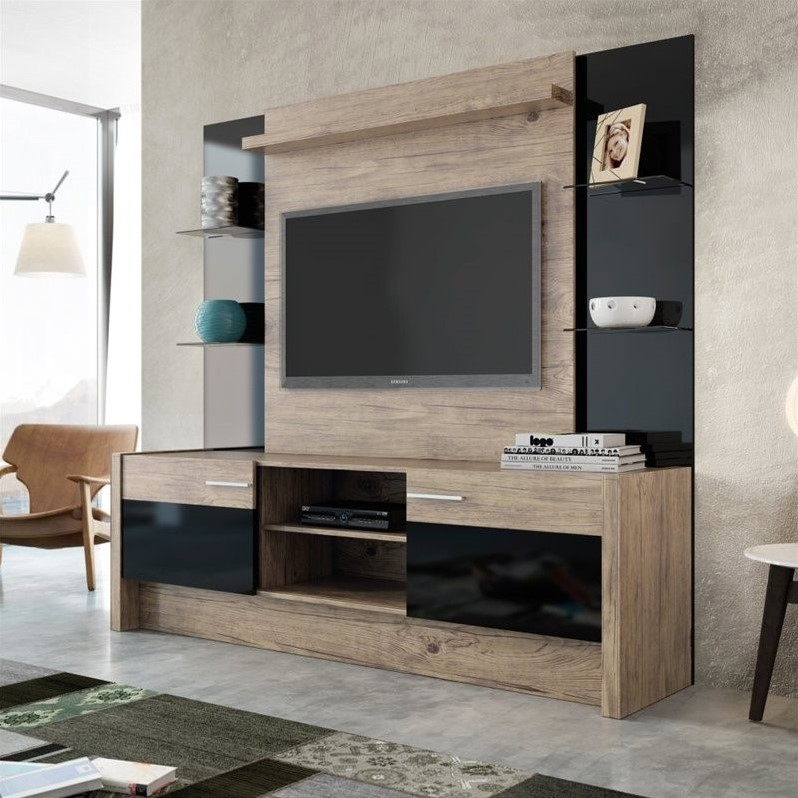 "Manhattan Comfort Morning Side 74"" Entertainment Center in Natural"