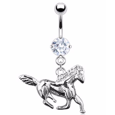 Body Accentz Belly Button Ring Navel Solitaire Horse Body Jewelry 14 Gauge
