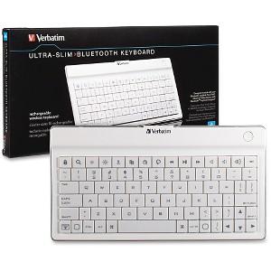 Verbatim Ultra-Slim Rechargable Wireless Bluetooth Keyboard - Tab & Ph - White