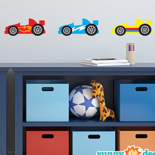 Sunny Decals Race Cars Fabric Wall Decal