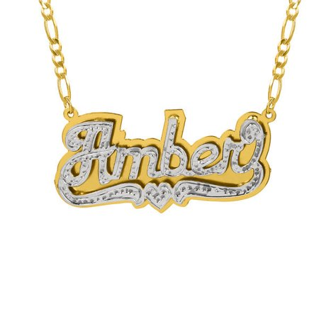 Personalized 14k gold over sterling silver double nameplate personalized 14k gold over sterling silver double nameplate necklace with beading and rhodium with an 18 aloadofball Images