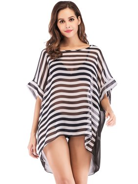 b6389c29c2 Product Image LELINTA Women¡¯s Plus Size Bikini Cover Up Warp Stripe  Chiffon Swimsuit Swimwear Perspective