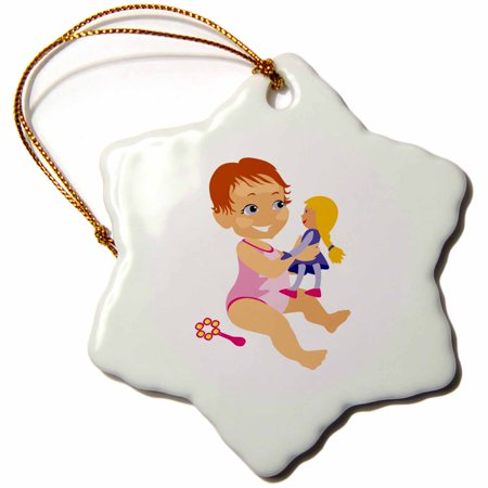 3dRose young toddler cartoon girl on beach with doll, Snowflake Ornament, Porcelain, 3-inch
