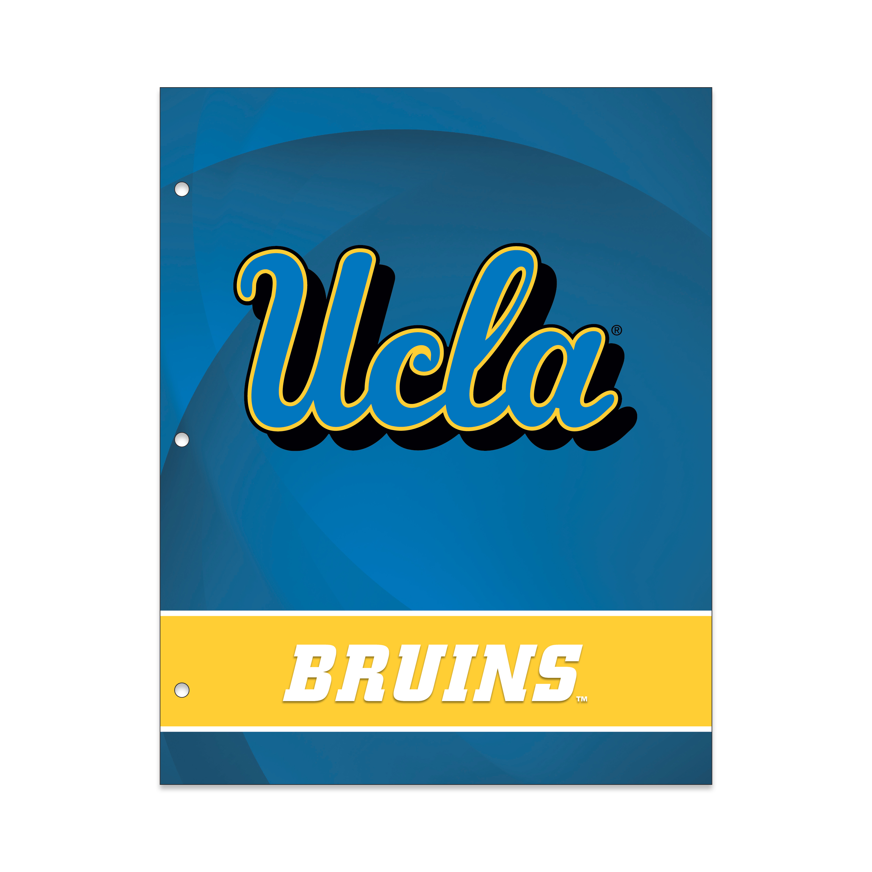NCAA UCLA Bruins 2 Pocket Portfolio, Three Hole Punched, Fits Letter Size
