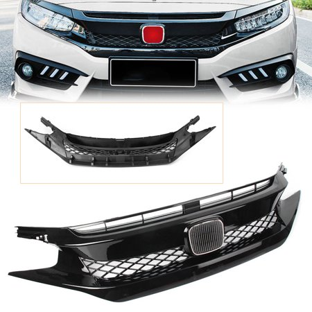 Gzyf Mesh Front Upper Grille Grill 2pcs Eyebrow Automobile Car Parts Accessories Fits For Honda Civic 2016 2018