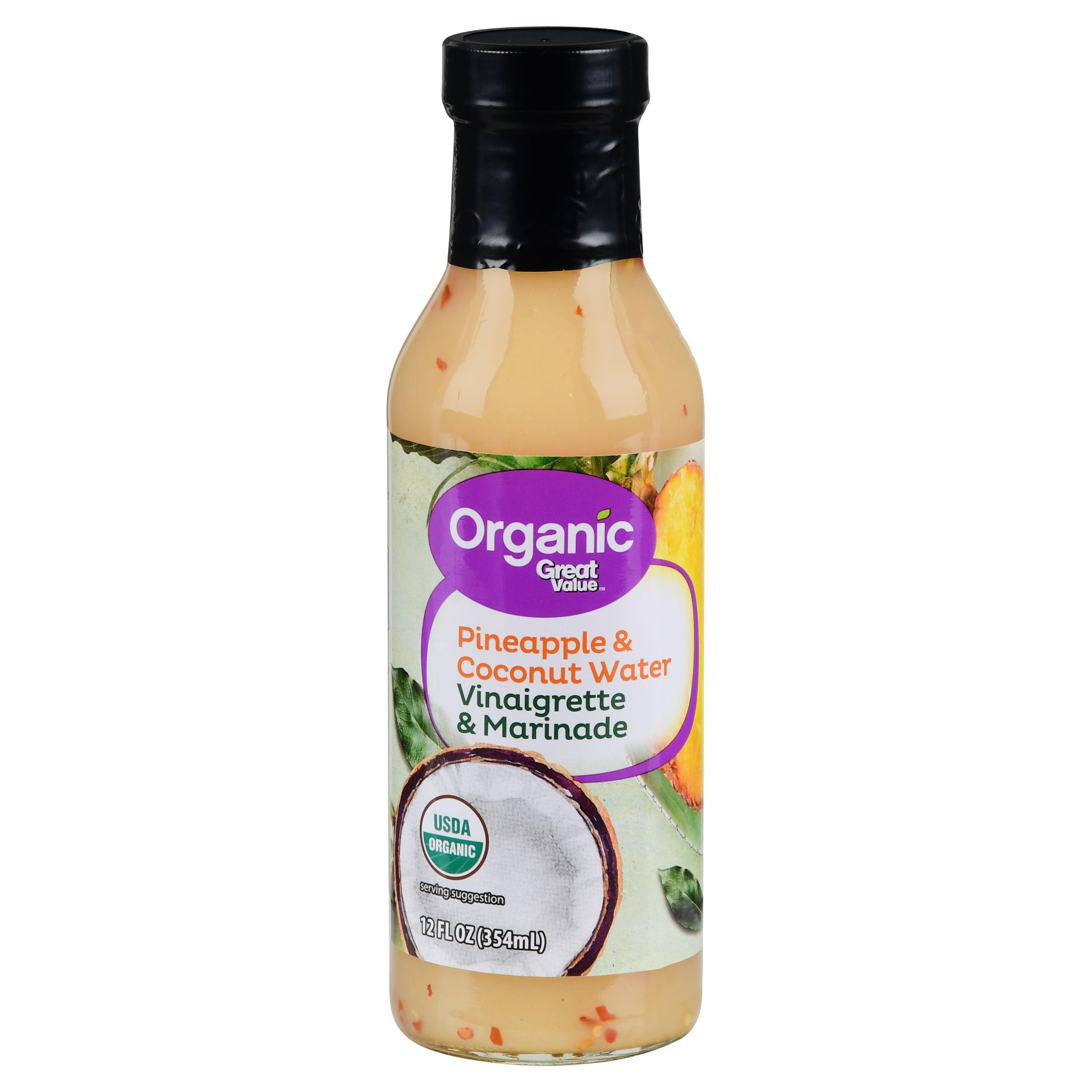 (2 Pack) Great Value Organic Pineapple & Coconut Water Vinaigrette & Marinade, 12 fl oz