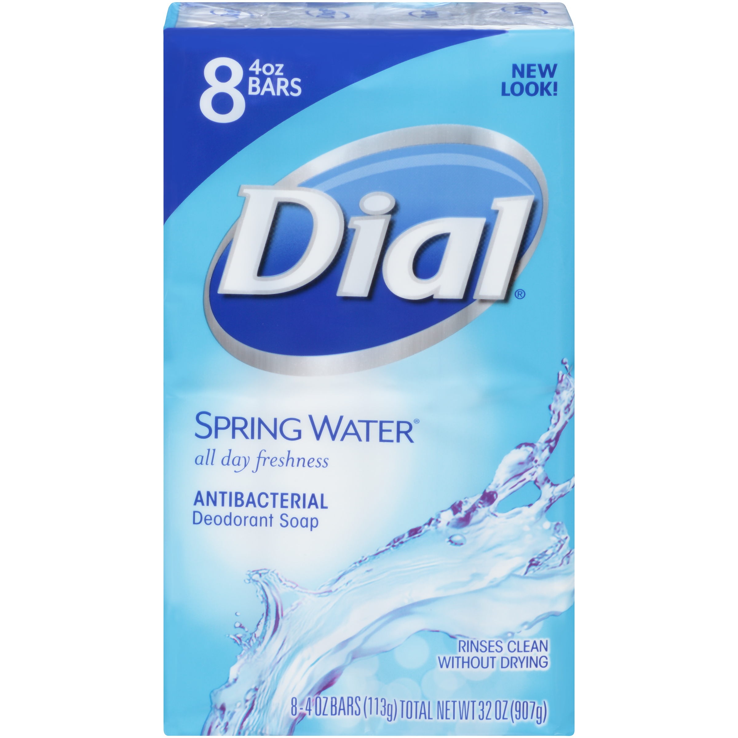 Dial Antibacterial Deodorant Bar Soap, Spring Water, 4 Ounce Bars, 8 Count
