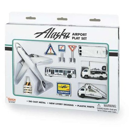 Daron Worldwide Trading RT3991 Alaska Airlines 12PC. Airport Play Set