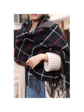 Women Plaid Tassel Warm Cashmere Muffler