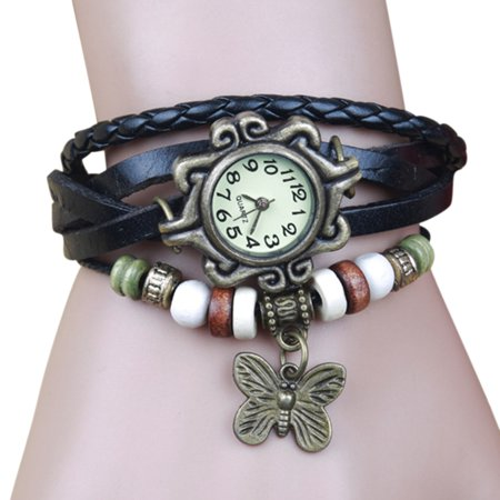 Women Fashion Vintage Handmade Wrist Watch Girl Exotic Leather Strap Quartz Watch ()
