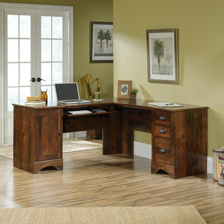 Sauder Harbor View Corner L-Shaped Computer Desk, Curado Cherry Finish Computer Credenza Sauder Office Furniture