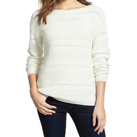 Nordstrom Collection New White Ivory Womens Large L Boat Neck Sweater