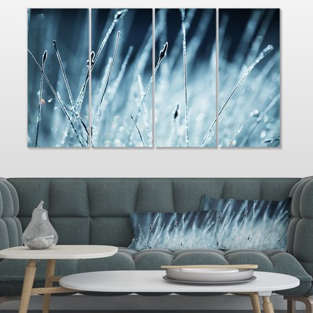 Wet Grass Black and White - Floral Canvas Art Print - image 3 of 3