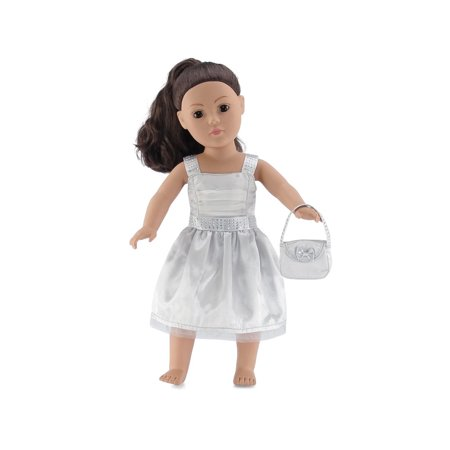 18 Inch Doll Clothes | Satiny Silver Party Dress with Embellishments, Includes Matching Purse with Bow | Fits American Girl Dolls