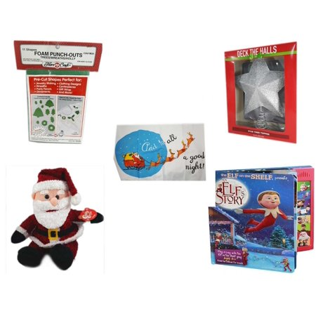 Christmas Fun Gift Bundle [5 Piece] - 11 Shapes Foam Punch-outs Trees/Wreaths/ Holly - Deck The Halls Silver Star Tree Topper 11.5