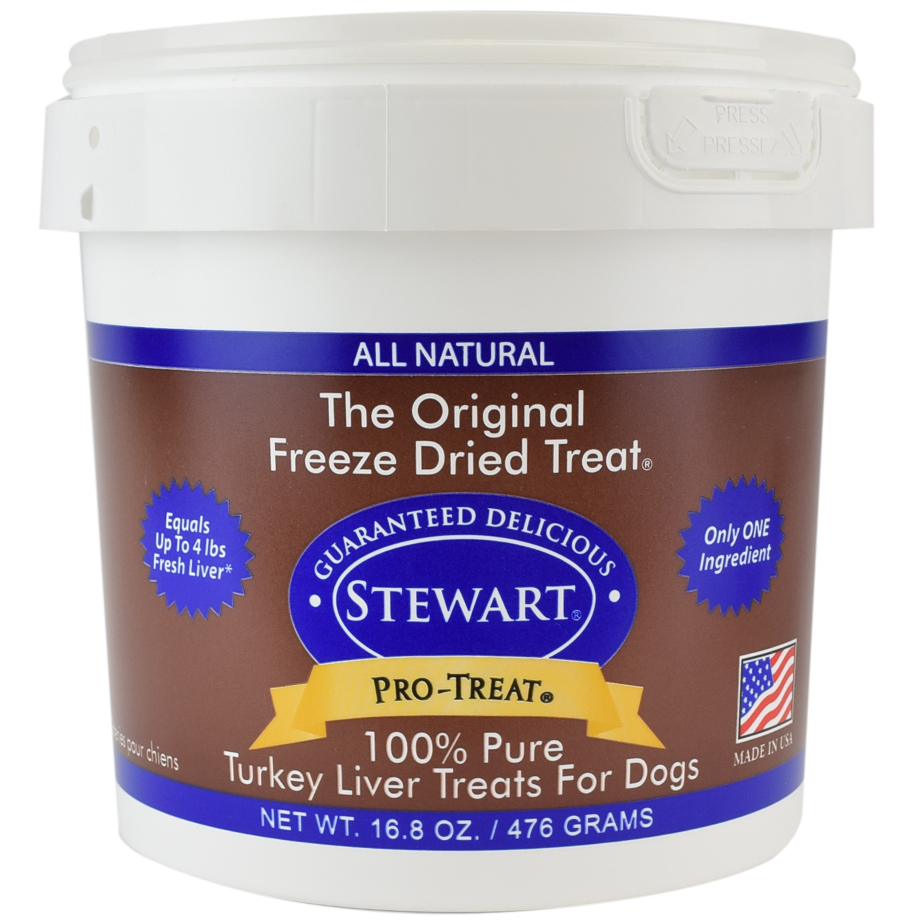 Stewart Freeze Dried Turkey Liver by Pro-Treat,16.8 oz. Tub