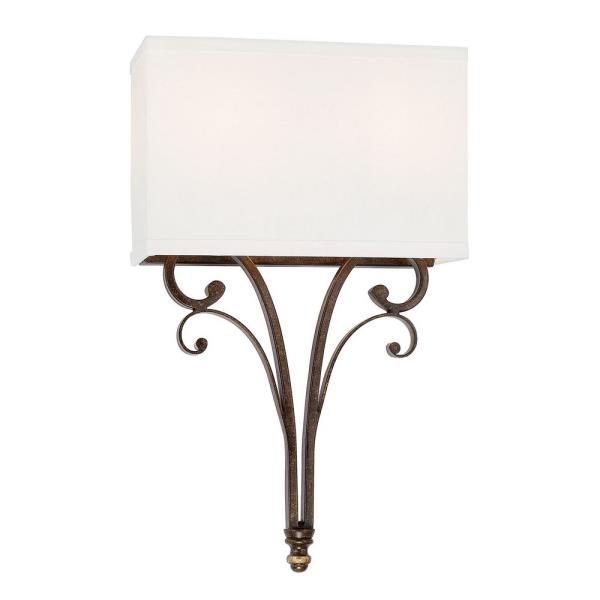 Capital Lighting Kingsley Two Light Wall Sconce, Dark Spice Finish with White Fabric Shade by Capital Lighting