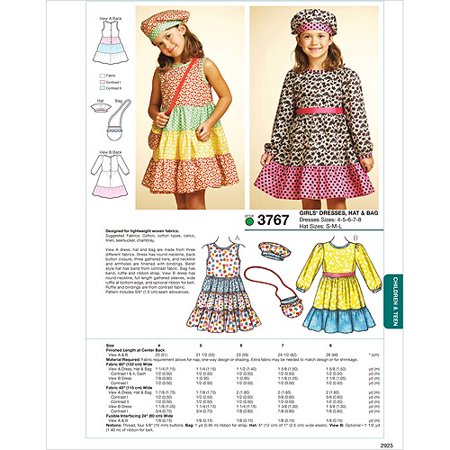 - Kwik Sew Pattern Dresses, Hat and Bag, (4, 5, 6, 7, 8), Hat: (S, M, L)