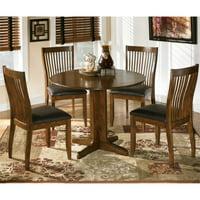 Ashley Stuman 5 Piece Wood Round Dining Set in Brown
