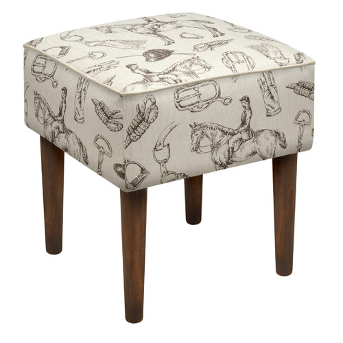 123 Creations Equestrian Upholstered Vanity Stool
