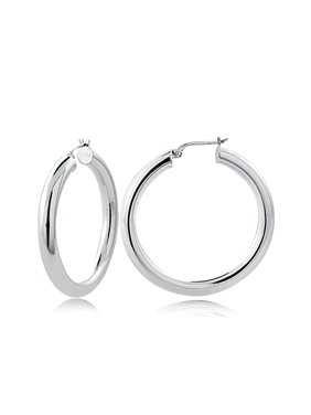 96c29bf3b Product Image Sterling Silver 4mm High Polished Round Hoop Earrings, 35mm.  SilverSpeck