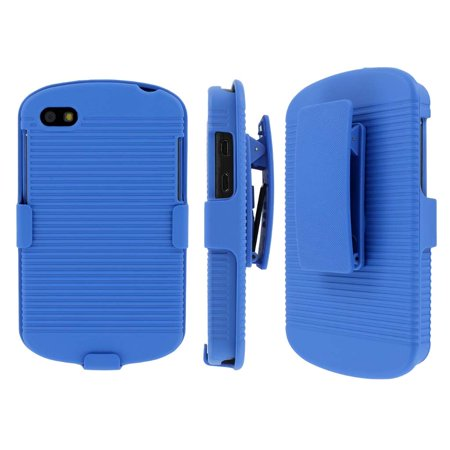 Blackberry Q10 Belt Clip Case, MPERO Collection 3 in 1 Tough Blue Kickstand Case for BlackBerry Q10