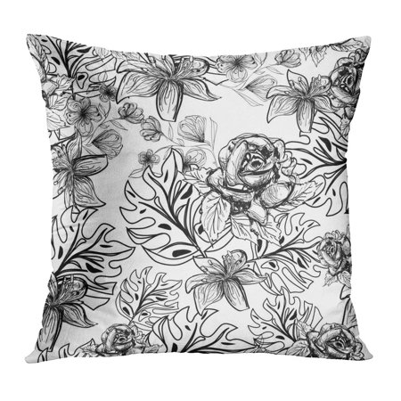 BOSDECO Blossom Abstract Monochrome Flowers Pattern Botanical Contour Doodle Drawing Exotic Pillow Case Pillow Cover 18x18 inch - image 1 of 1