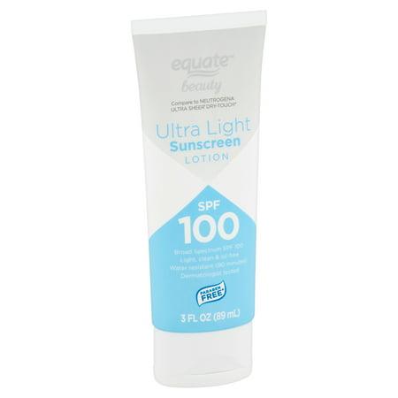 Equate Beauty Ultra Light Broad Spectrum Sunscreen Lotion, SPF 100, 3 fl oz