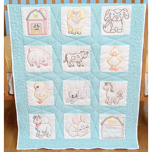 "Jack Dempsey Farm Animals Nursery Quilt Blocks, 12Pk, 9"" x 9"""
