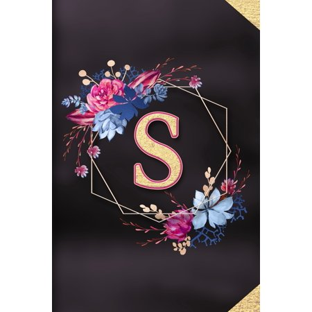 S: Monogram initial S notebook / Journal: Personalized Name Letter gifts for girls, women & men: School gifts for kids & teachers (blank lined Notebook 6x9 Classy Succulent Floral Gold Design) (Paperb ()