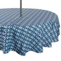 DII Blue Ikat Outdoor Tablecloth With Zipper 52 Round