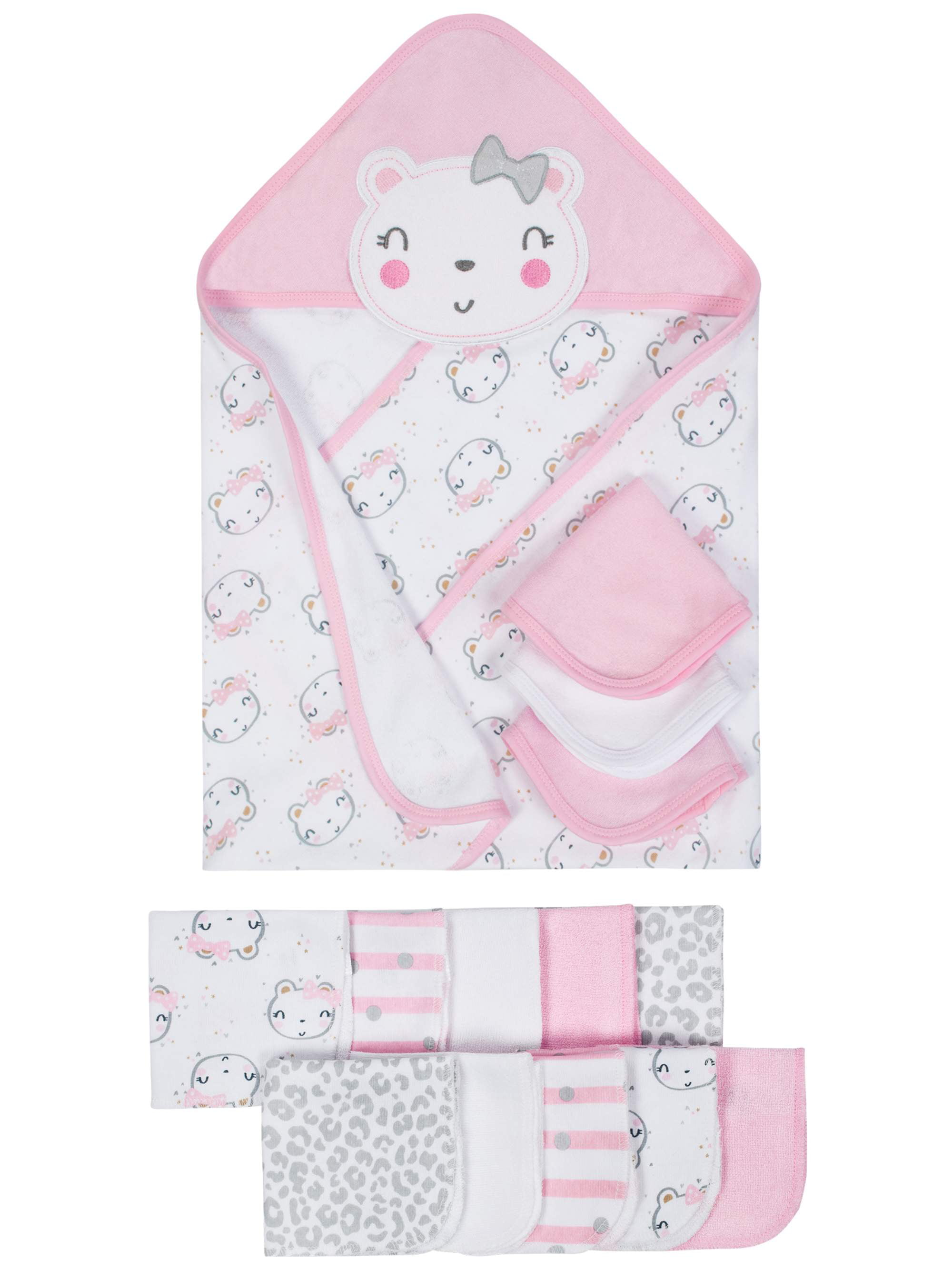 Terry Hooded Towels & Washcloths Bath Set, 14-piece (Baby Boys) by Gerber Childrenswear LLC