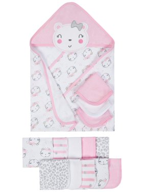 Gerber Terry Hooded Towels & Washcloths Bath Set, 14-piece (Baby Girls)