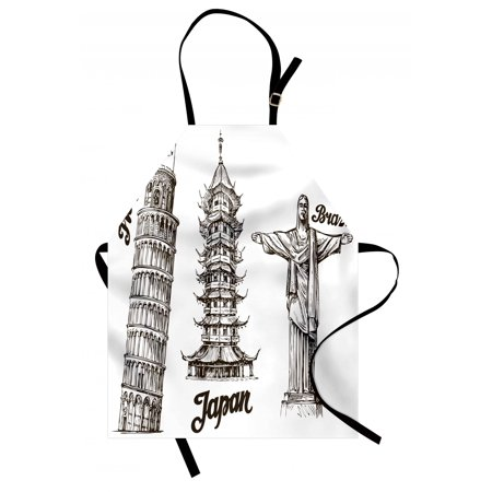 Travel Apron Leaning Tower of Pisa Japanese Temple and Brazil Statue Architecture Asian Culture, Unisex Kitchen Bib Apron with Adjustable Neck for Cooking Baking Gardening, Army Green, by Ambesonne