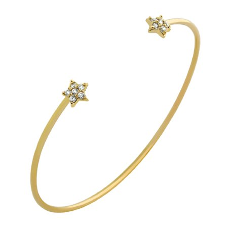 Pave Star Bracelet (Cubic Zirconia Pave Two Stars Wire Bangle Bracelet Yellow Gold-Tone Plated Sterling Silver)