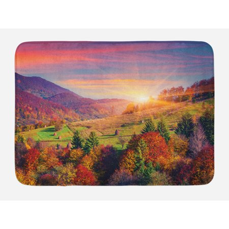 Nature Bath Mat, Pastoral Autumn Morning in Mountain Village Fall Tree Surreal Rural Print, Non-Slip Plush Mat Bathroom Kitchen Laundry Room Decor, 29.5 X 17.5 Inches, Red Purple Green, Ambesonne