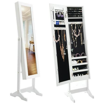 Costway Mirrored Jewelry Cabinet Armoire Mirror Organizer ...