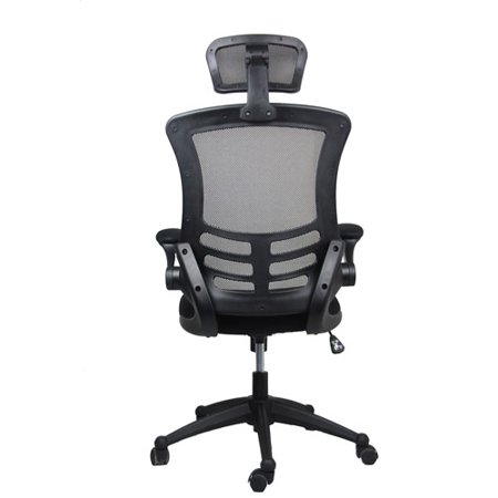 Techni Mobili Mesh High-Back Chair with Flip-Up Arms and Headrest