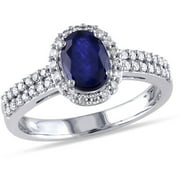 1 Carat T.G.W. Sapphire and 1/3 Carat T.W. Diamond 10kt White Gold Halo Engagement Ring