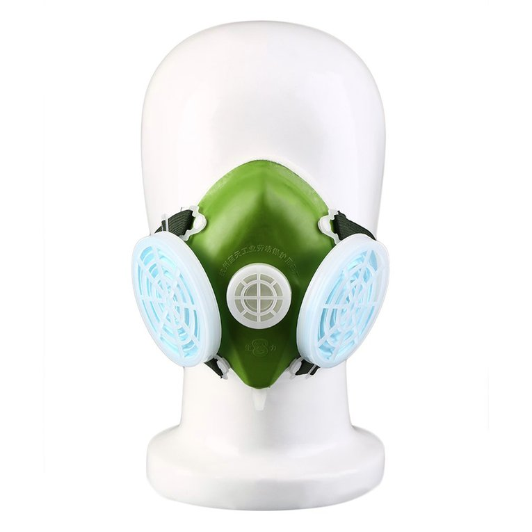 Dual Respirator Gas Mask Anti-Dust Twin Chemical Spray Paint Safety Headwear by