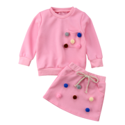 Winter Autumn Toddler Kids Baby Girls Outfits Clothes Balls T-shirt Tops+Skirts