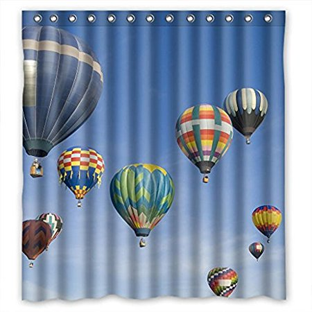 Mohome Hot Air Balloon Design Shower Curtain Waterproof Polyester Fabric Size 60x72 Inches