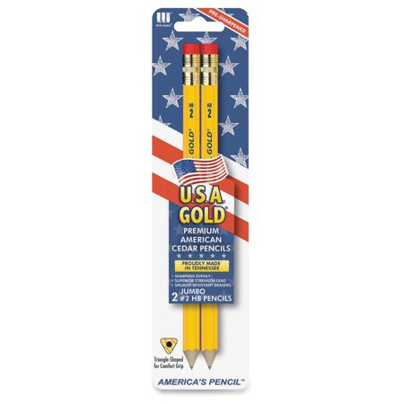The Write Dudes Jumbo USA Gold Premium No. 2 Pencils (dtn77) (Usa Gold Pencils)