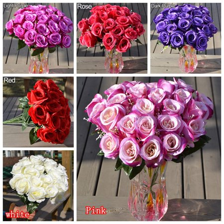24 Heads Fake Rose Artificial Flower Wedding Party Home D Cor