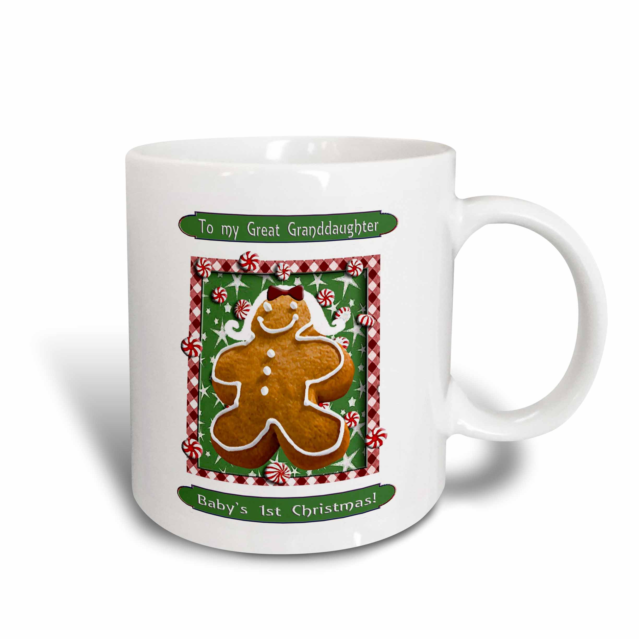 3dRose Gingerbread Girl, Babys First Christmas Great Granddaughter, Ceramic Mug, 15-ounce