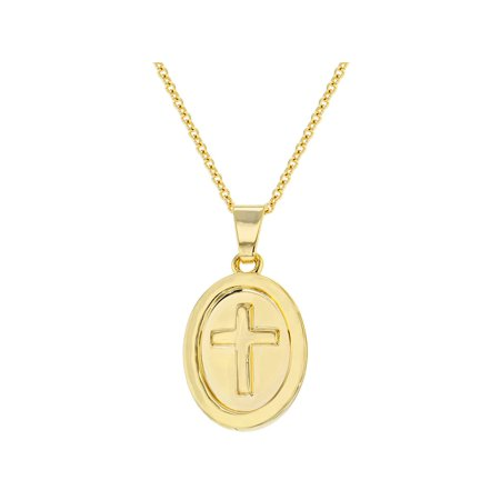 Emerald 18k Gold Cross Jewelry (18k Gold Plated Medal Religious Cross Pendant Necklace for Kids 16